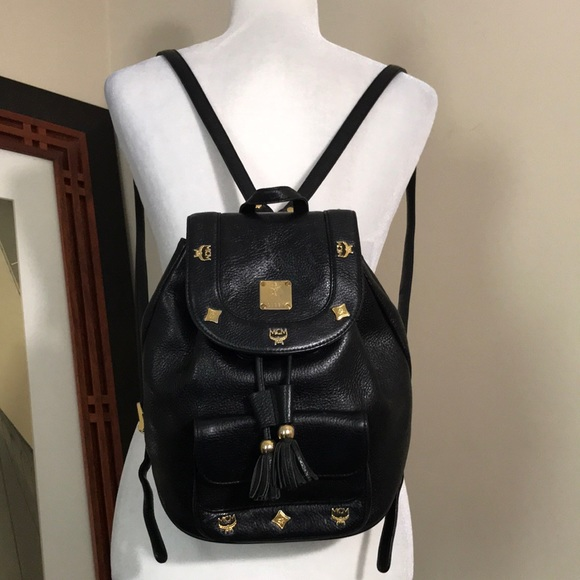 5d5ecf26db3dc5 MCM Bags | Black Leather Gold Studded Backpack | Poshmark